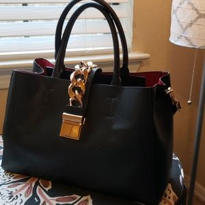 H & M Black and Red Tote with Gold latch chain
